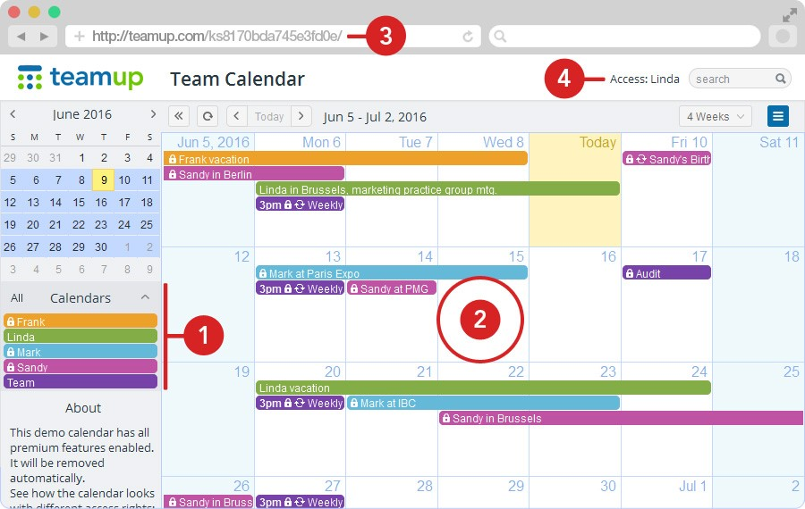 teamup calendar: Organize, schedule, share, access control