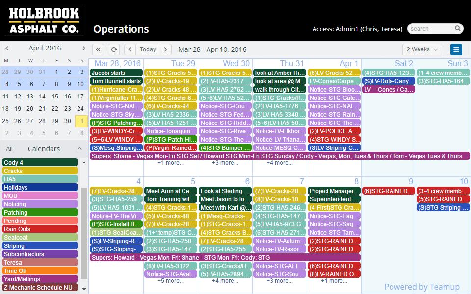 Weekly Rent Calendar : Construction teamup calendar shared online