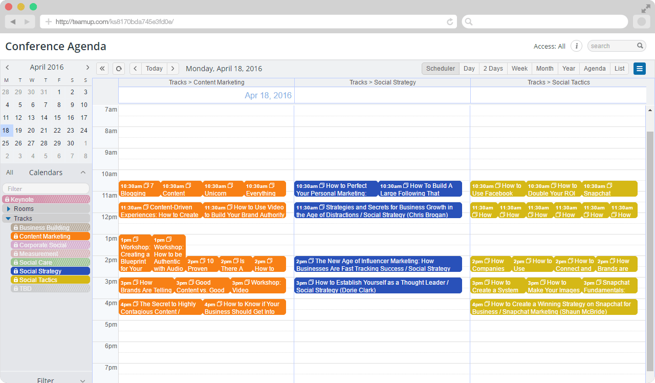 scheduler view, selected tracks