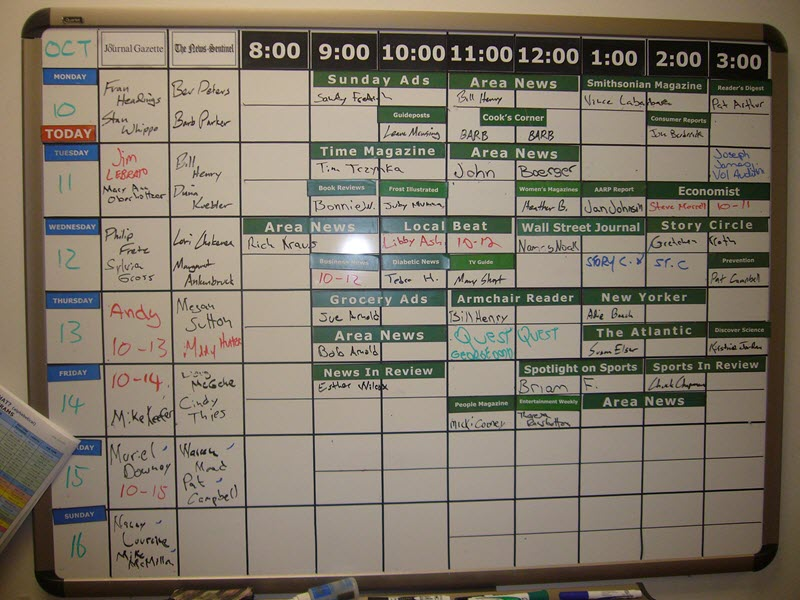 Audio reading service hand-written schedule board