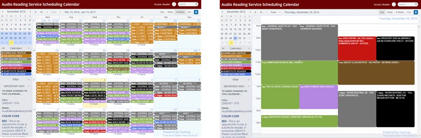 schedule on teamup in 4-week view and day view