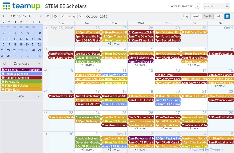 Academic Calendar Osu.Case Study The Ohio State University Stem Teamup Calendar