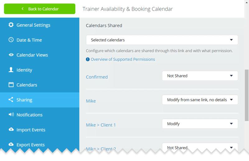 Configure calendar access links