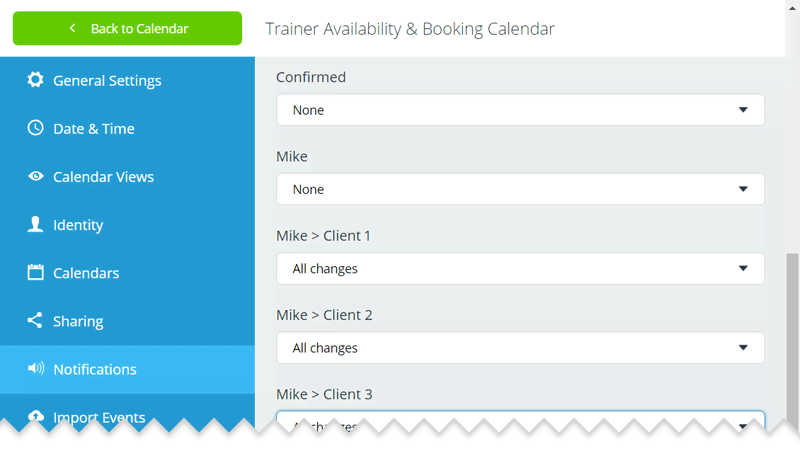 Notification setup for Trainer Mike