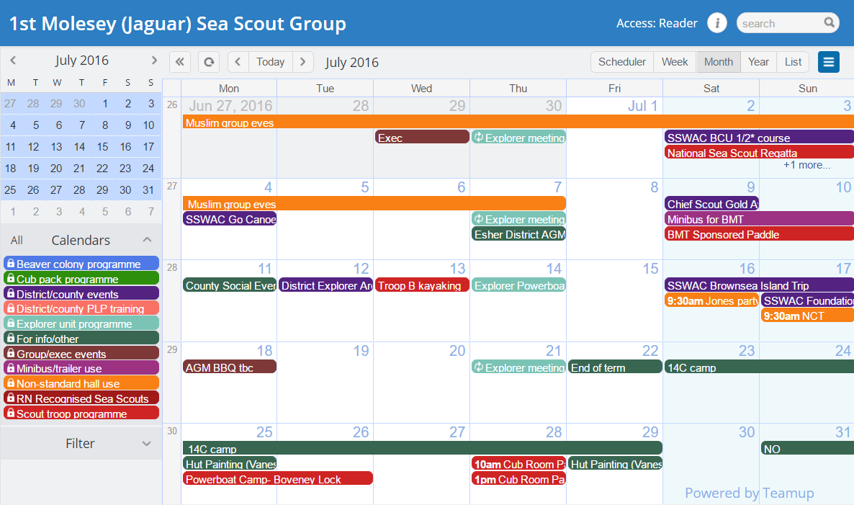 calendar sea scout group UK