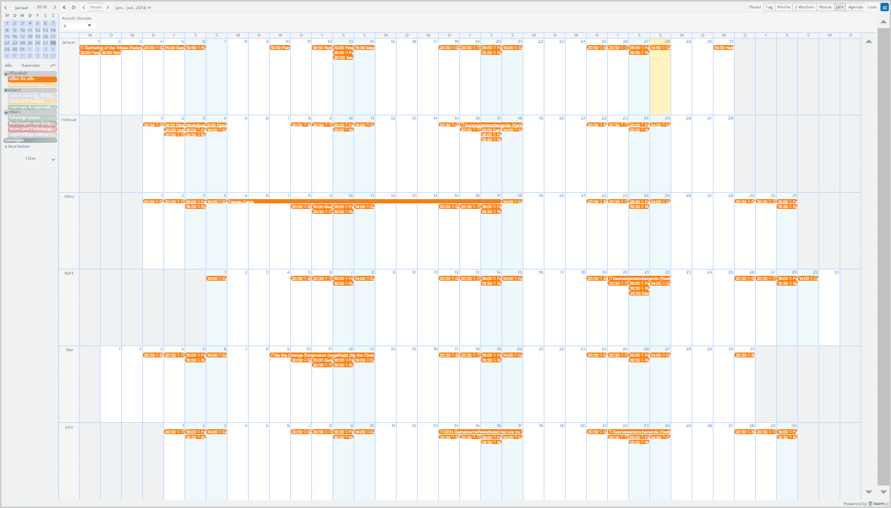 Toggle the calendar list in the left panel to view one sub-calendar in 6-month view.