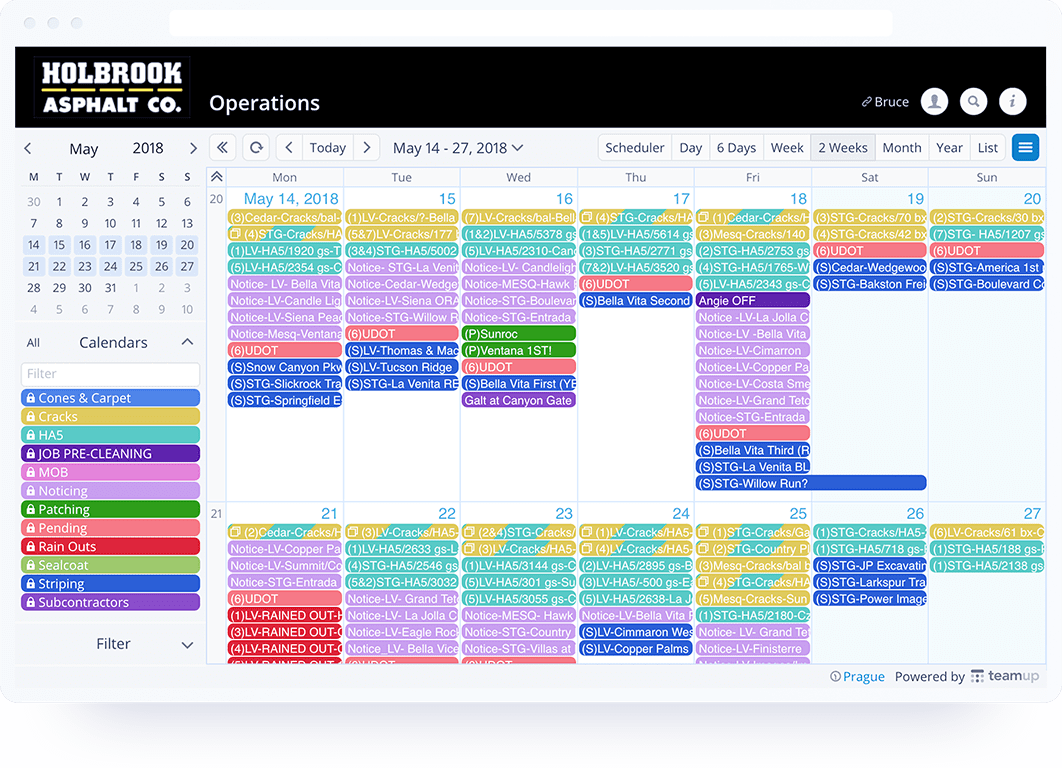 schedule work - teamup calendar
