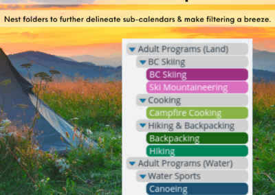 Outdoor programs: Group program types and allow participants to see all activities or selected categories only.