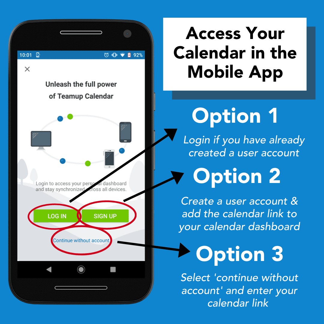 Access your Teamup calendar in the mobile app