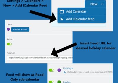 Add a holiday calendar feed to your own calendar