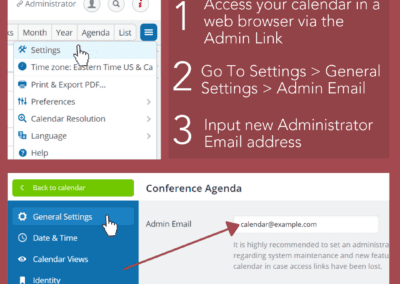 How to change the administrator email for a Teamup calendar