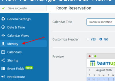 How to change the calendar name or title on Teamup calendar