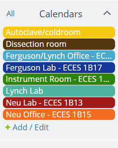 Colored calendars for rooms, people and resources to be scheduled