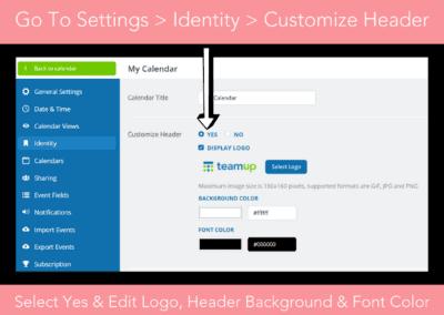 How to customize the calendar header, logo, color, branding