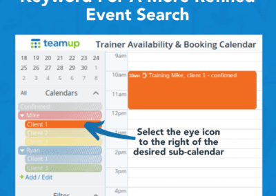 How to filter calendar events with a keyword and sub-calendar filter combination