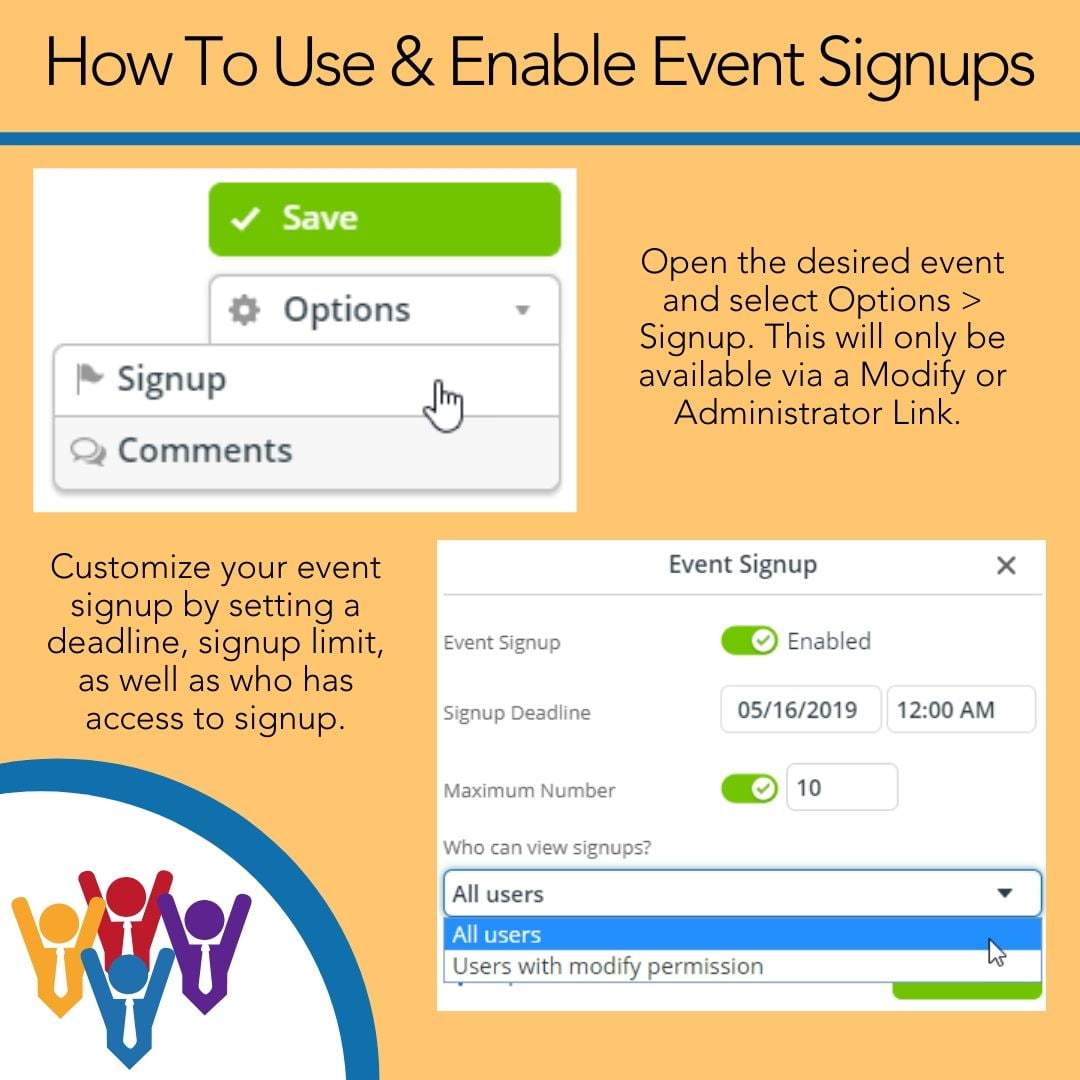 How to use and enable event signup
