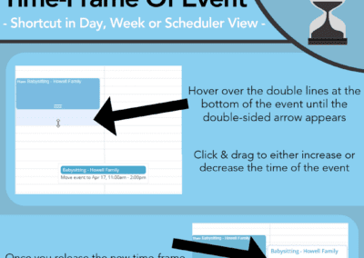 Drag the event to increase or decrease the time frame of the event