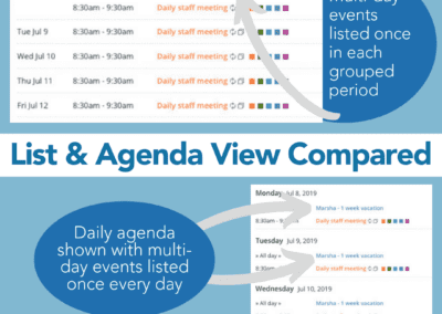 List and Agenda view compared on Teamup