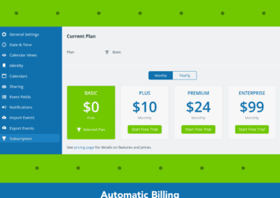 New Teamup billing system with automatic billing yearly or monthly