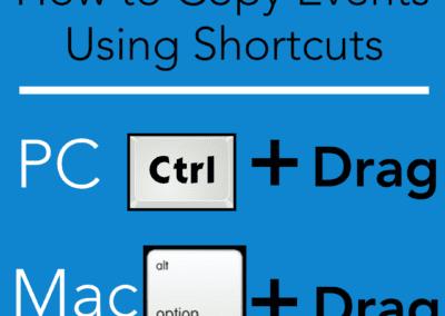 Shortcut to copy events