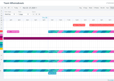 The Timeline calendar view on multi-day setting with 5 days