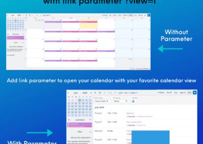 How to utilize calendar link parameters to customize calendar view