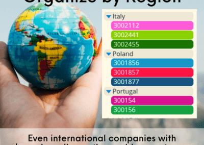 Sub-calendar inspiration organize by region or area
