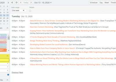 Filter sessions in Agenda view