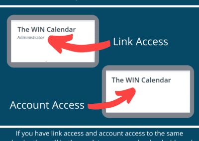 account and link access on calendar dashboard