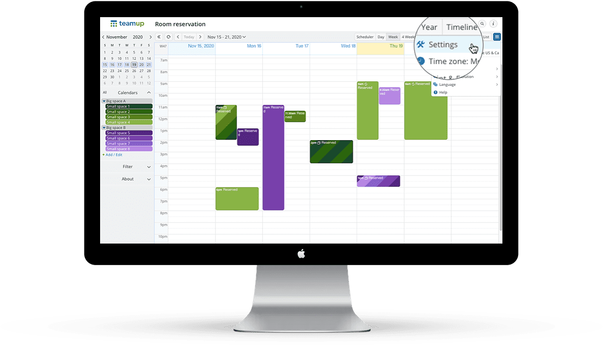 Teamup administrator calendar view