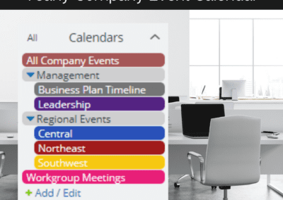 Yearly company event calendar sub-calendar inspiration