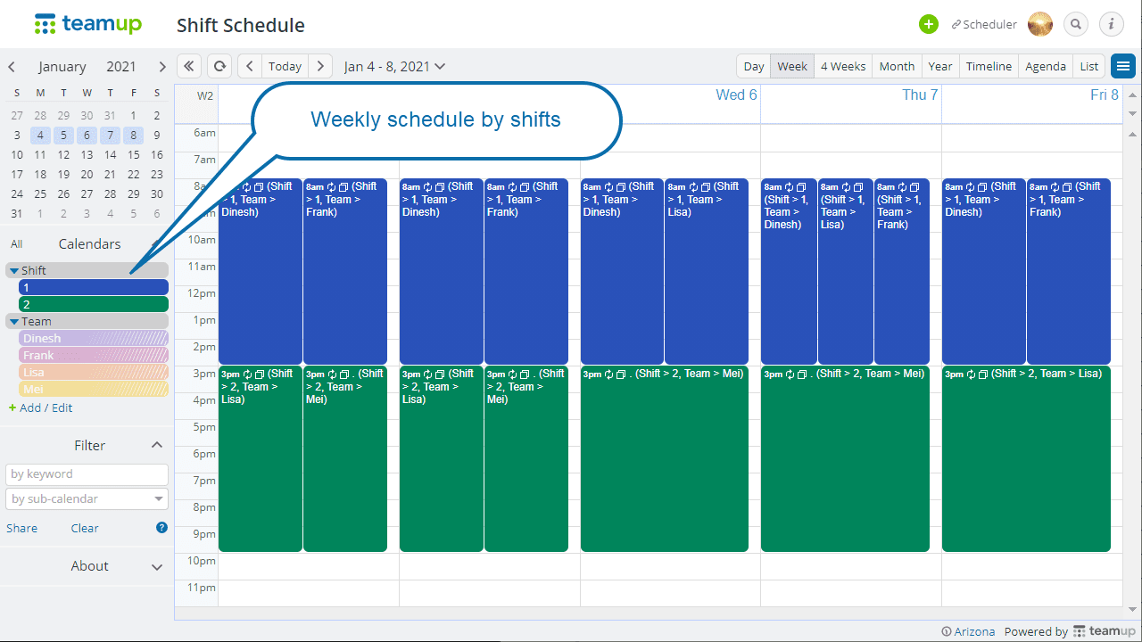 Team schedule weekly overview