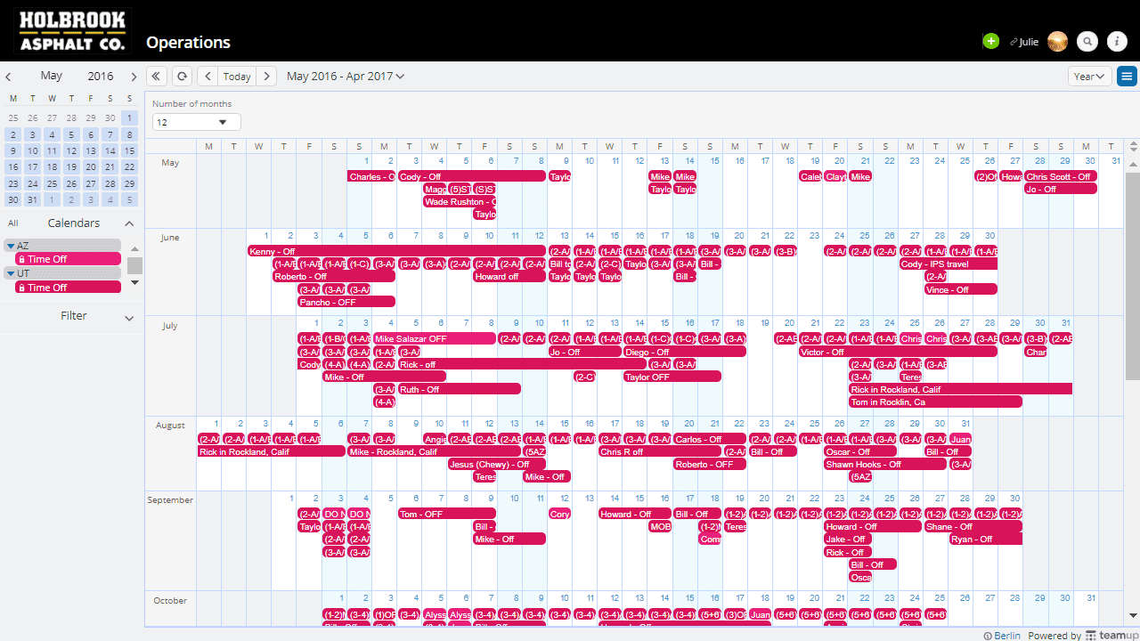holbrook HR calendar view