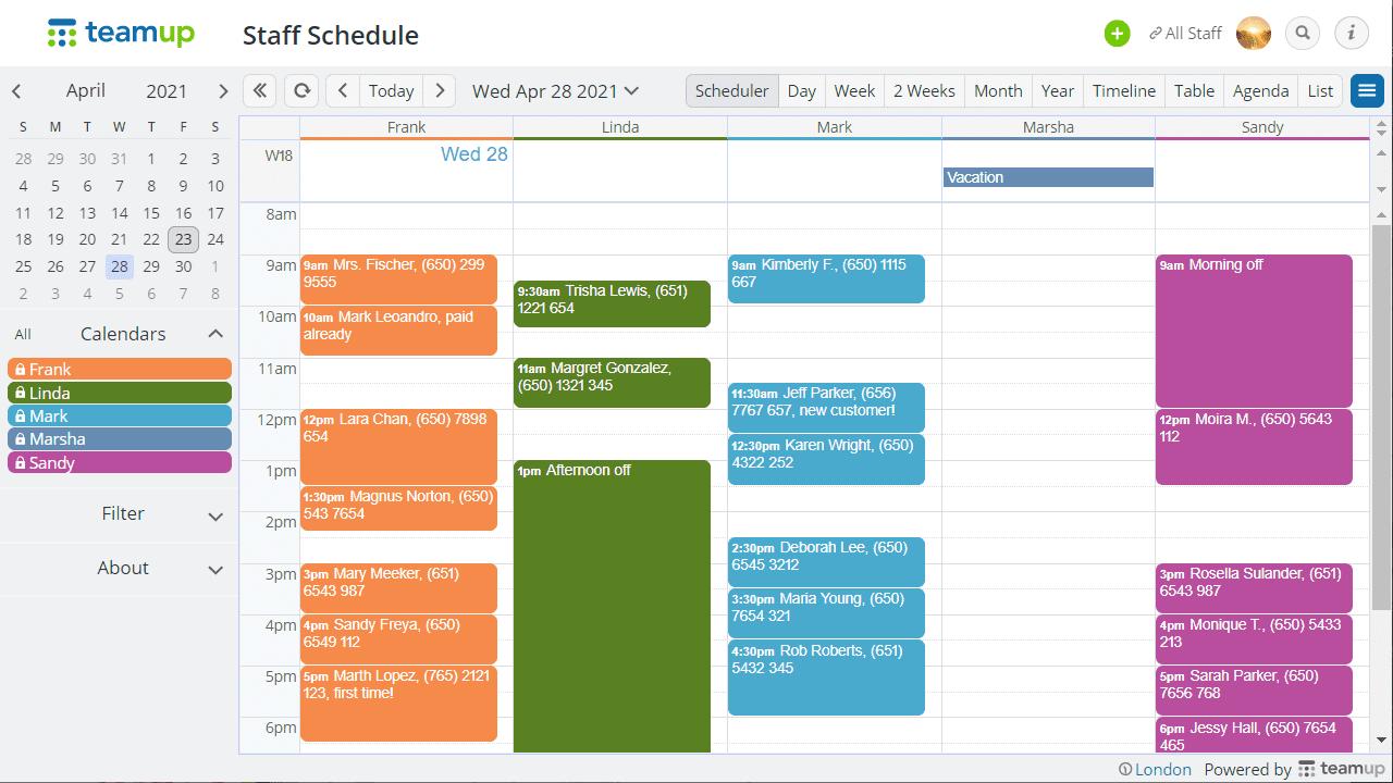 scheduler view
